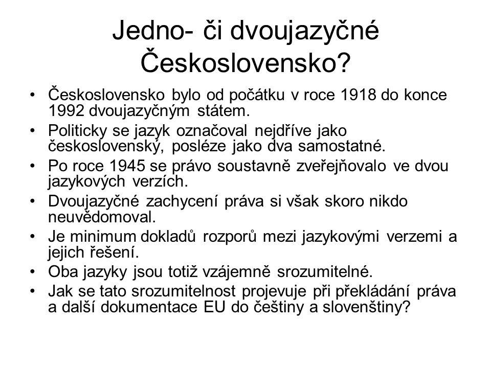Jedno- či dvoujazyčné Československo