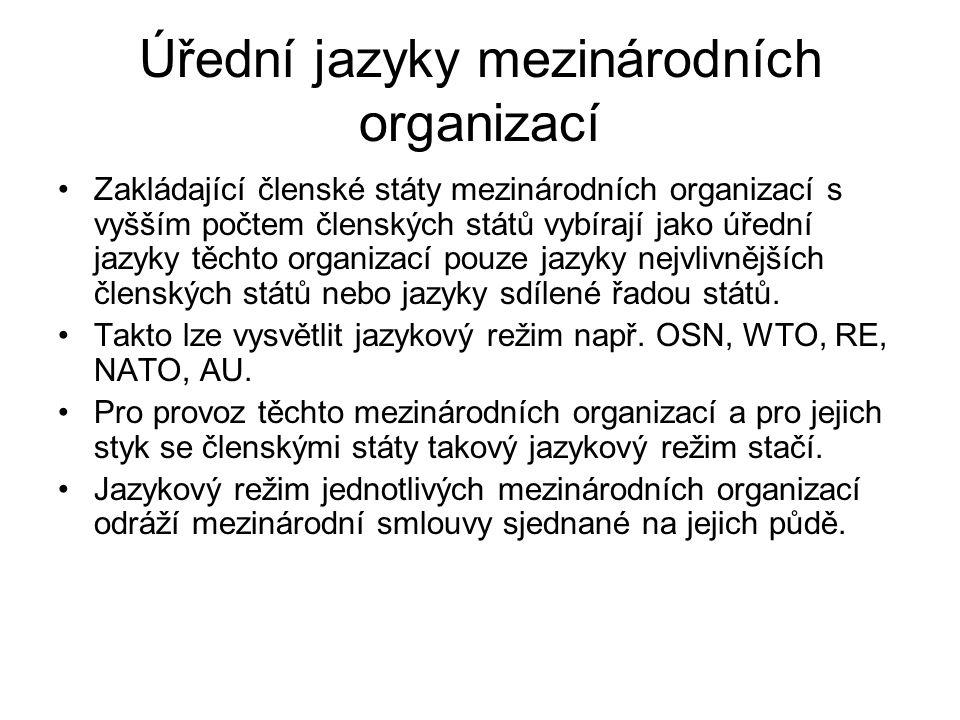 Úřední jazyky mezinárodních organizací