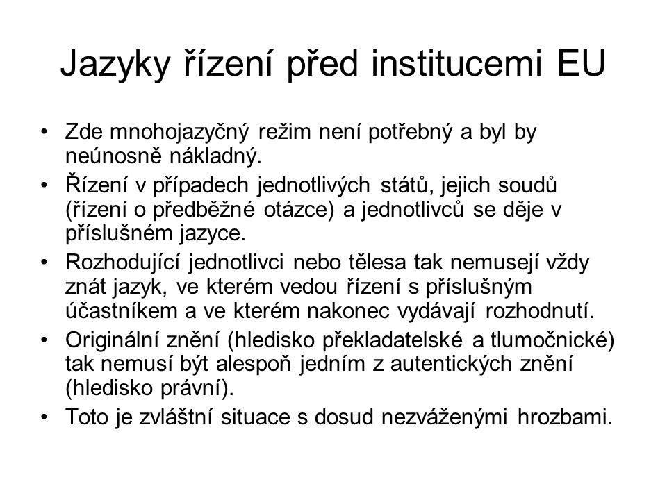 Jazyky řízení před institucemi EU
