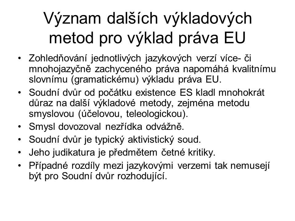 Význam dalších výkladových metod pro výklad práva EU