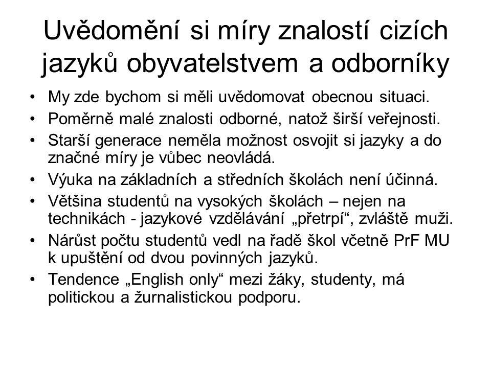 Uvědomění si míry znalostí cizích jazyků obyvatelstvem a odborníky