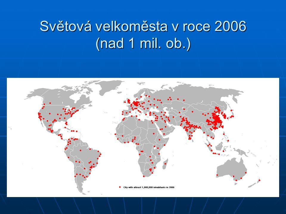 Světová velkoměsta v roce 2006 (nad 1 mil. ob.)
