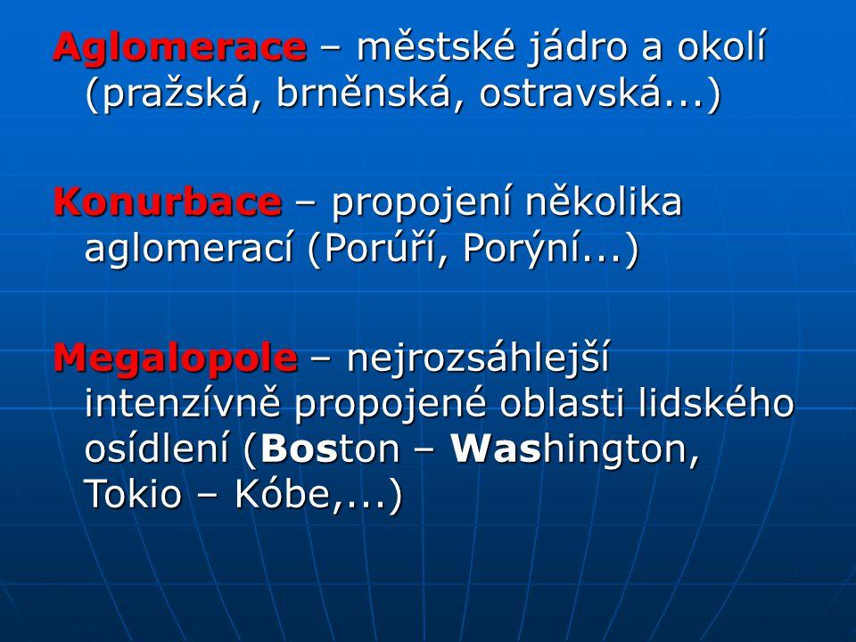 Aglomerace – městské jádro a okolí (pražská, brněnská, ostravská...)