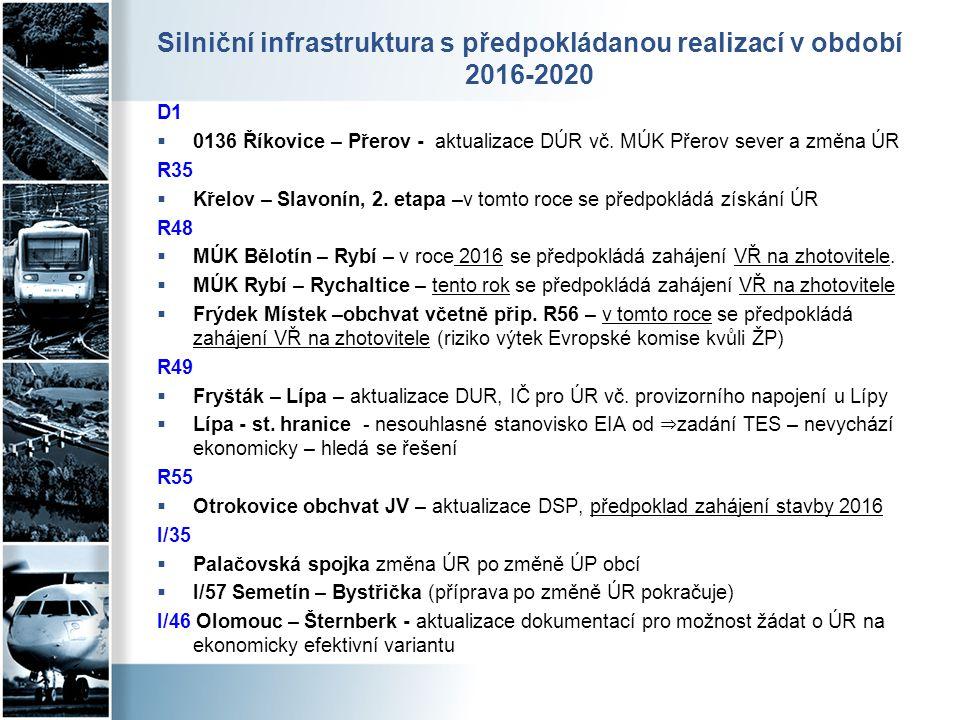 Silniční infrastruktura s předpokládanou realizací v období 2016-2020