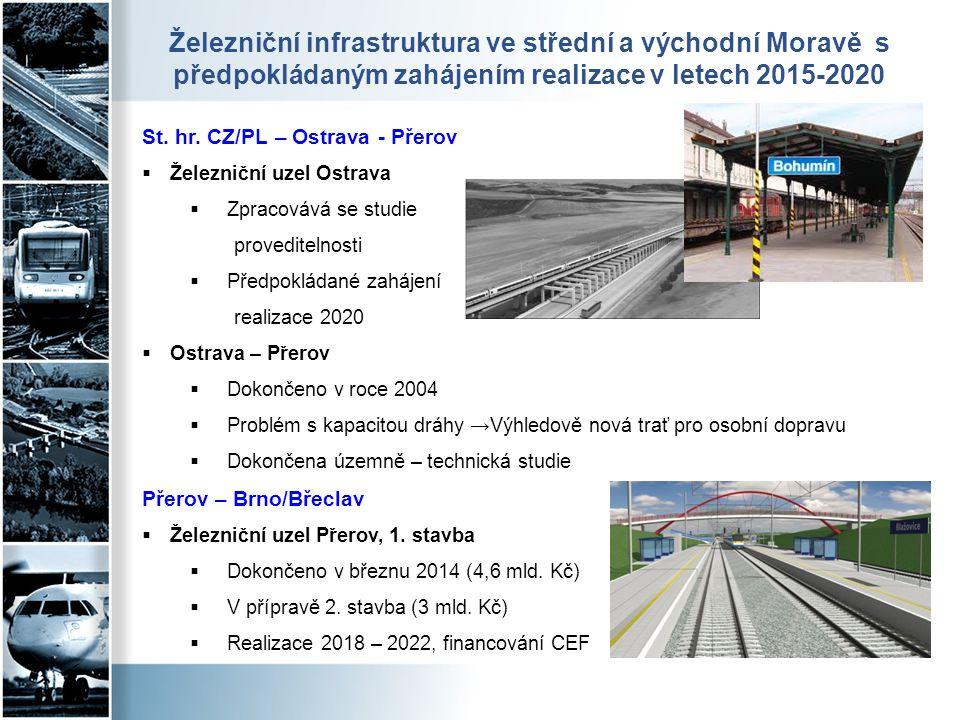 Železniční infrastruktura ve střední a východní Moravě s předpokládaným zahájením realizace v letech 2015-2020