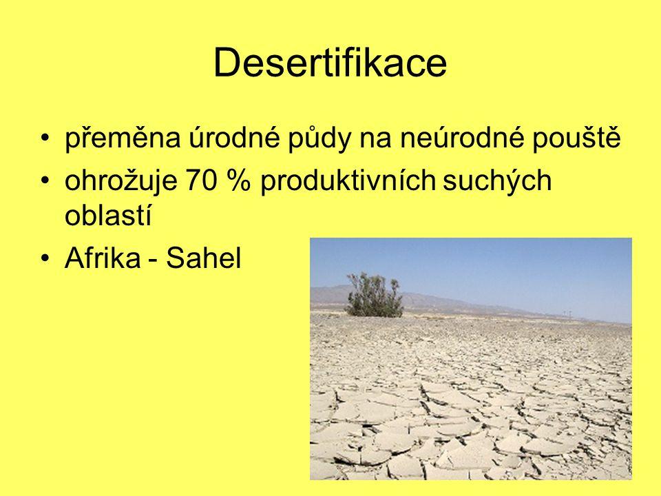 Desertifikace přeměna úrodné půdy na neúrodné pouště