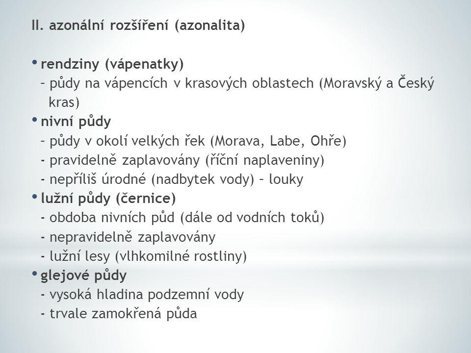 II. azonální rozšíření (azonalita)