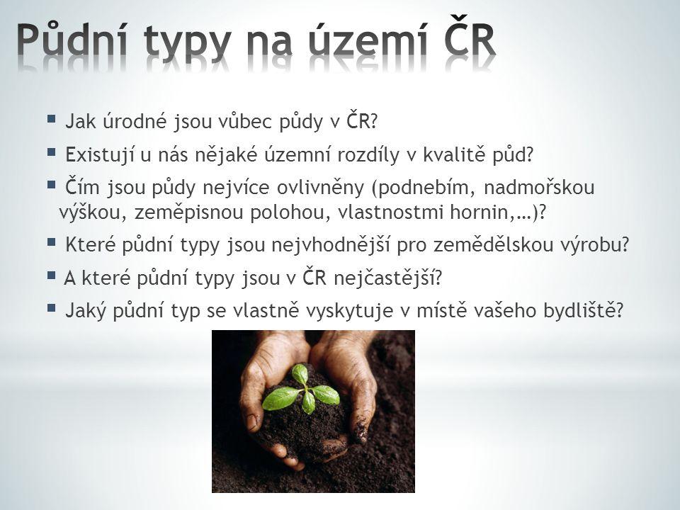 Půdní typy na území ČR Jak úrodné jsou vůbec půdy v ČR