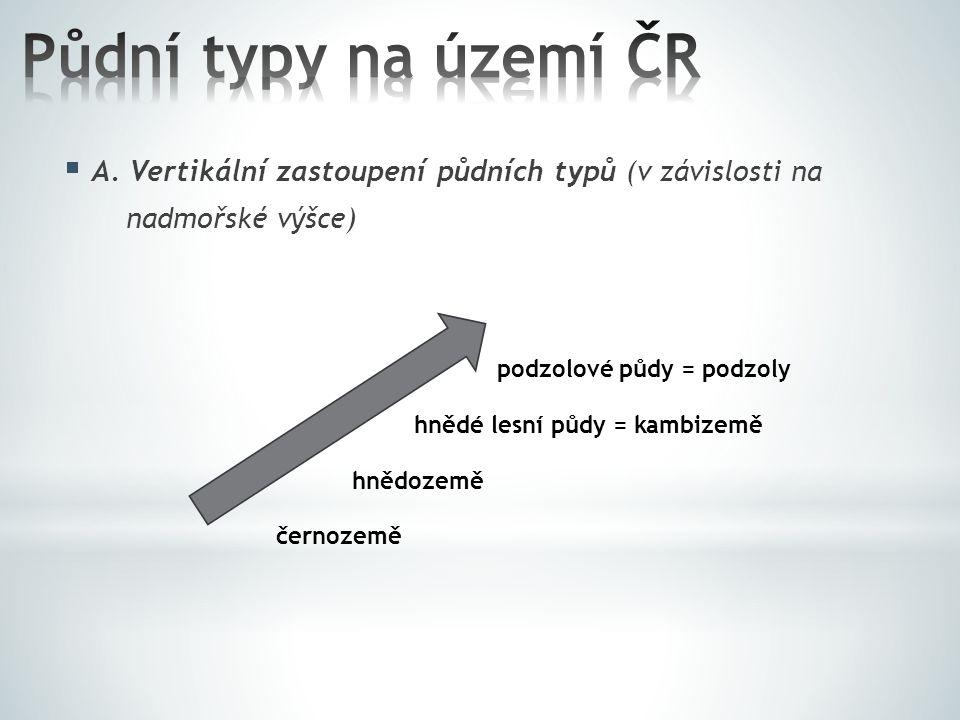 Půdní typy na území ČR A. Vertikální zastoupení půdních typů (v závislosti na. nadmořské výšce) podzolové půdy = podzoly.