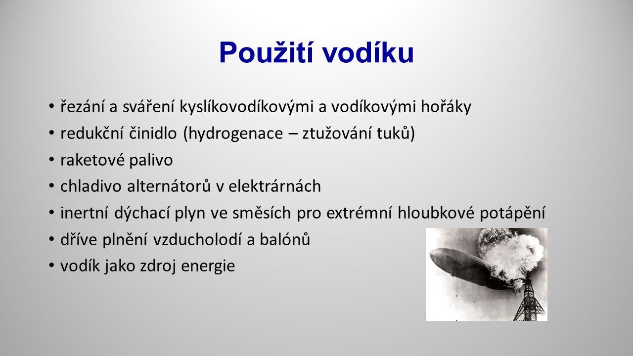 Použití vodíku řezání a sváření kyslíkovodíkovými a vodíkovými hořáky