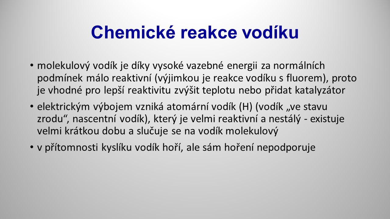 Chemické reakce vodíku