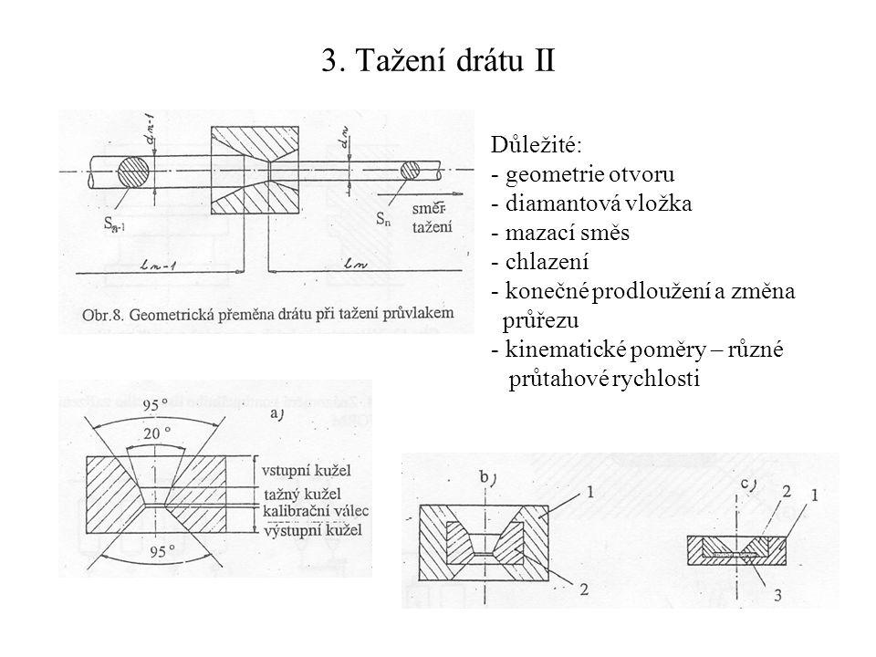 3. Tažení drátu II Důležité: geometrie otvoru diamantová vložka