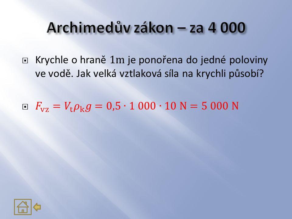 Archimedův zákon – za 4 000 Krychle o hraně 1m je ponořena do jedné poloviny ve vodě. Jak velká vztlaková síla na krychli působí