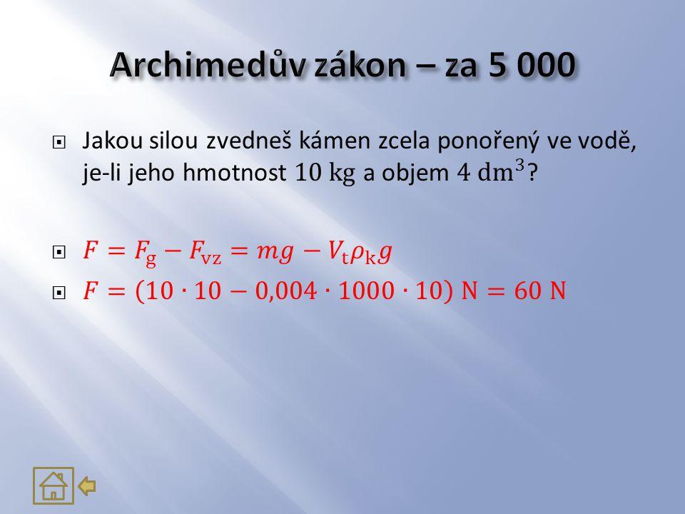 Archimedův zákon – za 5 000 Jakou silou zvedneš kámen zcela ponořený ve vodě, je-li jeho hmotnost 10 kg a objem 4 dm 3