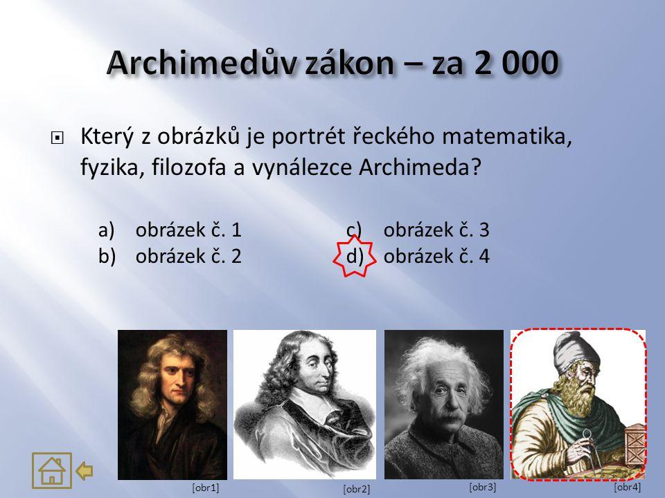 Archimedův zákon – za 2 000 Který z obrázků je portrét řeckého matematika, fyzika, filozofa a vynálezce Archimeda