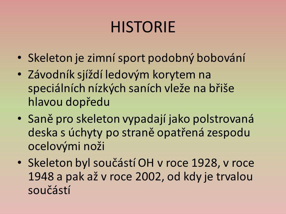 HISTORIE Skeleton je zimní sport podobný bobování