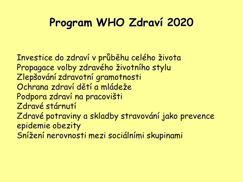 Program WHO Zdraví 2020 Investice do zdraví v průběhu celého života