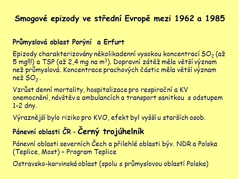 Smogové epizody ve střední Evropě mezi 1962 a 1985