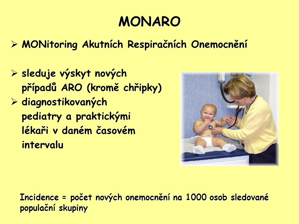 MONARO MONitoring Akutních Respiračních Onemocnění. sleduje výskyt nových. případů ARO (kromě chřipky)