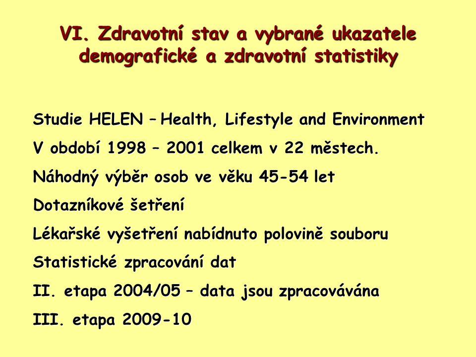 VI. Zdravotní stav a vybrané ukazatele demografické a zdravotní statistiky