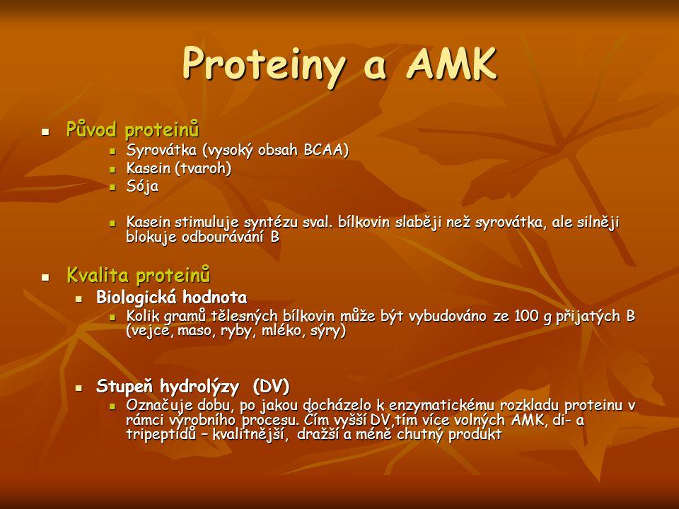 Proteiny a AMK Původ proteinů Kvalita proteinů Biologická hodnota