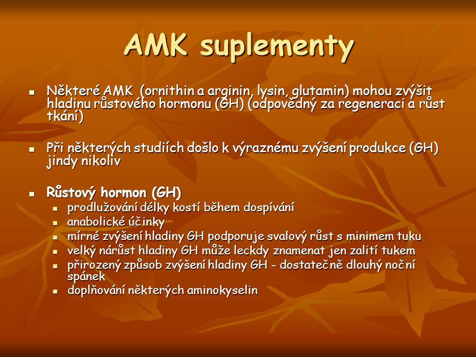 AMK suplementy Některé AMK (ornithin a arginin, lysin, glutamin) mohou zvýšit hladinu růstového hormonu (GH) (odpovědný za regeneraci a růst tkání)
