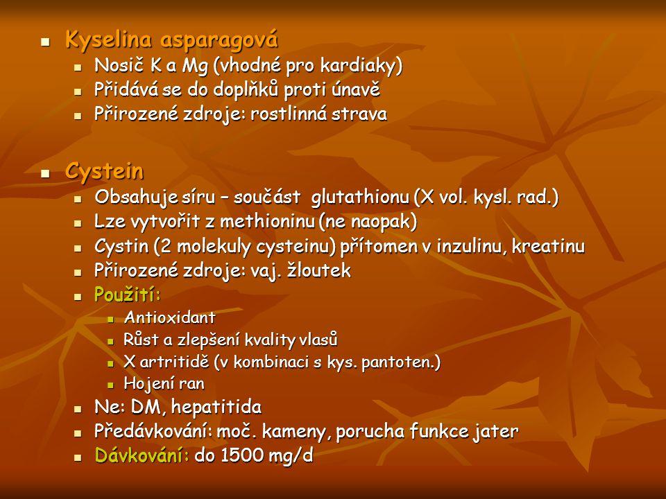Kyselina asparagová Cystein Nosič K a Mg (vhodné pro kardiaky)