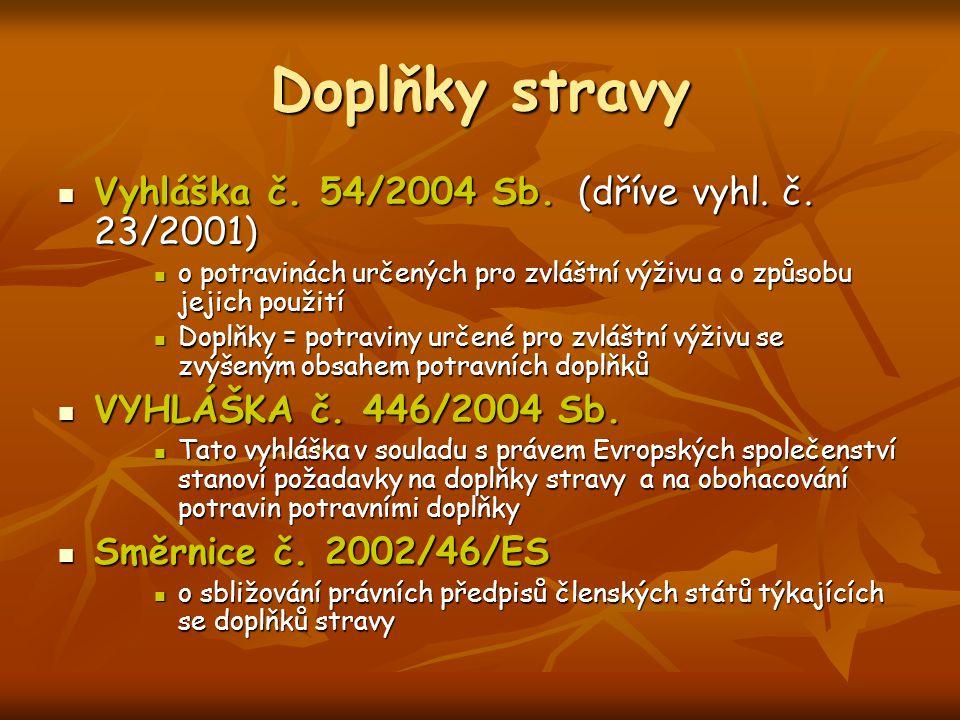 Doplňky stravy Vyhláška č. 54/2004 Sb. (dříve vyhl. č. 23/2001)
