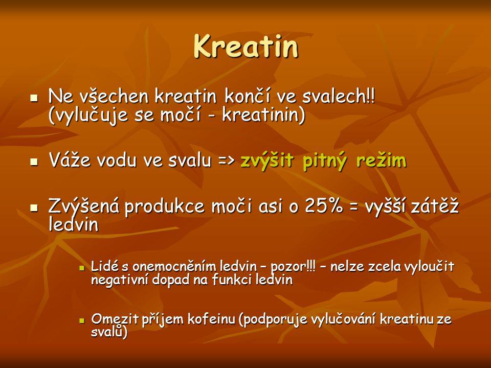 Kreatin Ne všechen kreatin končí ve svalech!! (vylučuje se močí - kreatinin) Váže vodu ve svalu => zvýšit pitný režim.