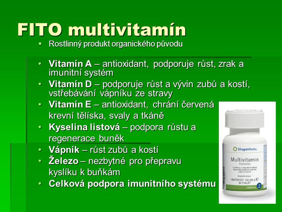 FITO multivitamín Rostlinný produkt organického původu. Vitamín A – antioxidant, podporuje růst, zrak a imunitní systém.