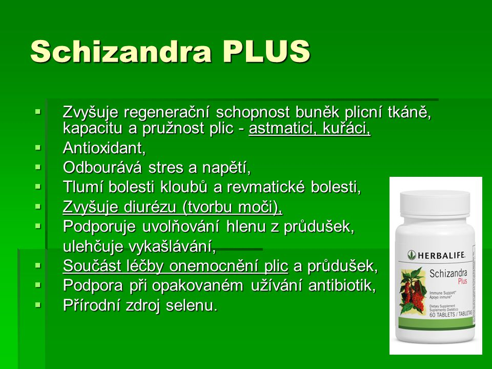 Schizandra PLUS Zvyšuje regenerační schopnost buněk plicní tkáně, kapacitu a pružnost plic - astmatici, kuřáci,