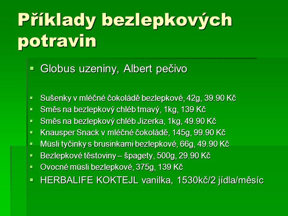 Příklady bezlepkových potravin