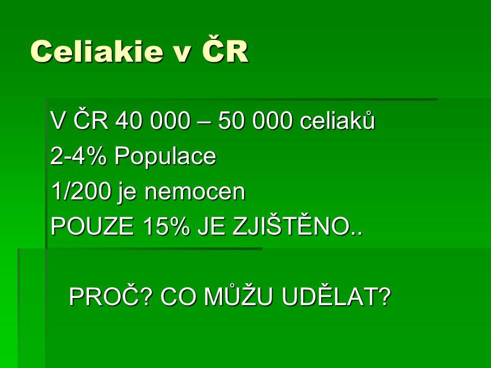 Celiakie v ČR V ČR 40 000 – 50 000 celiaků 2-4% Populace