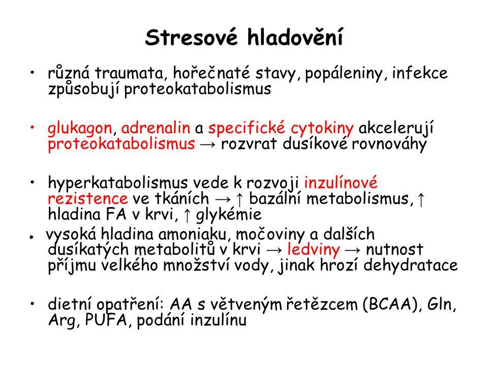 Stresové hladovění různá traumata, hořečnaté stavy, popáleniny, infekce způsobují proteokatabolismus.