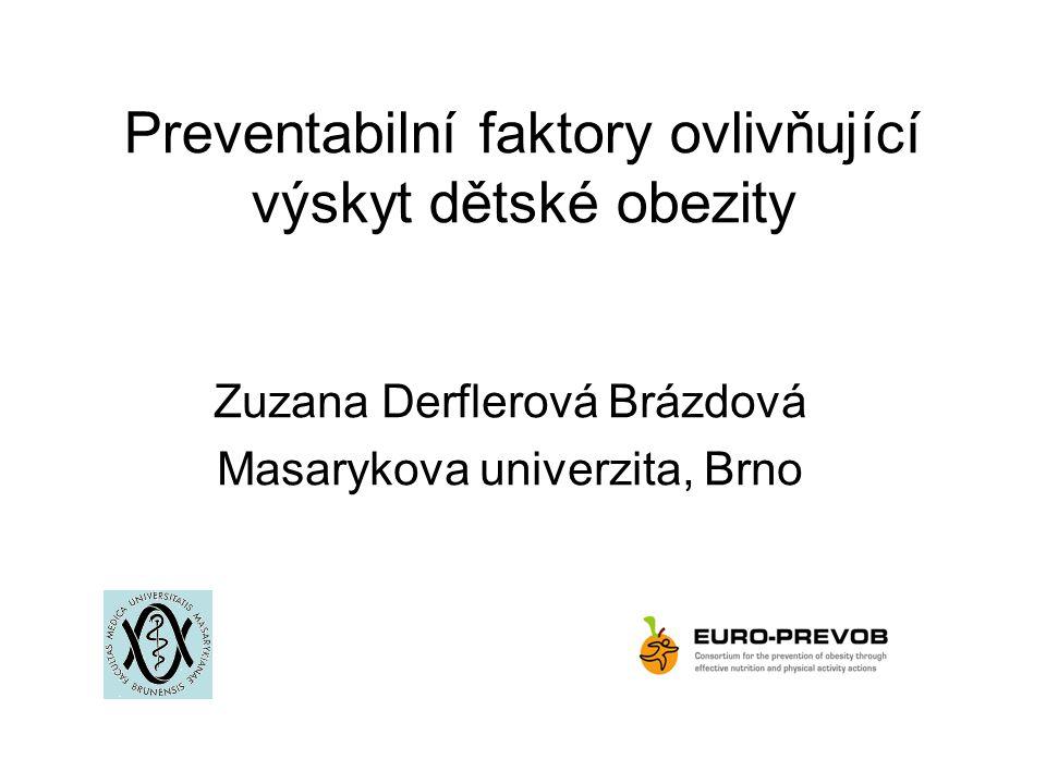 Preventabilní faktory ovlivňující výskyt dětské obezity
