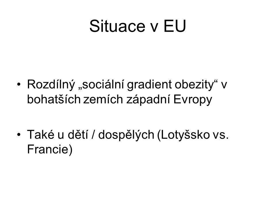 """Situace v EU Rozdílný """"sociální gradient obezity v bohatších zemích západní Evropy."""