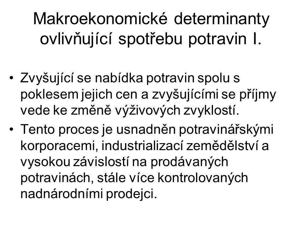 Makroekonomické determinanty ovlivňující spotřebu potravin I.
