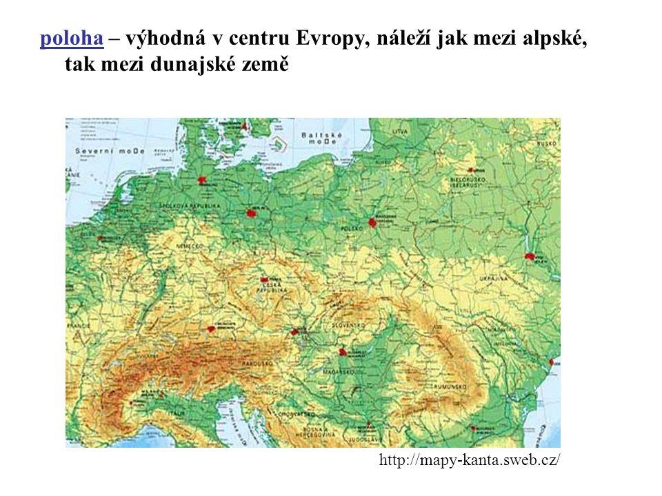 poloha – výhodná v centru Evropy, náleží jak mezi alpské, tak mezi dunajské země
