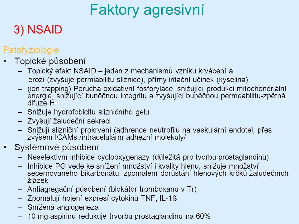 3) NSAID Faktory agresivní Patofyziologie Topické působení