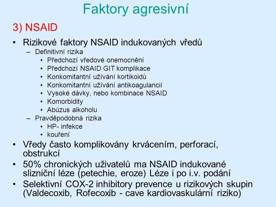 3) NSAID Faktory agresivní Rizikové faktory NSAID indukovaných vředů