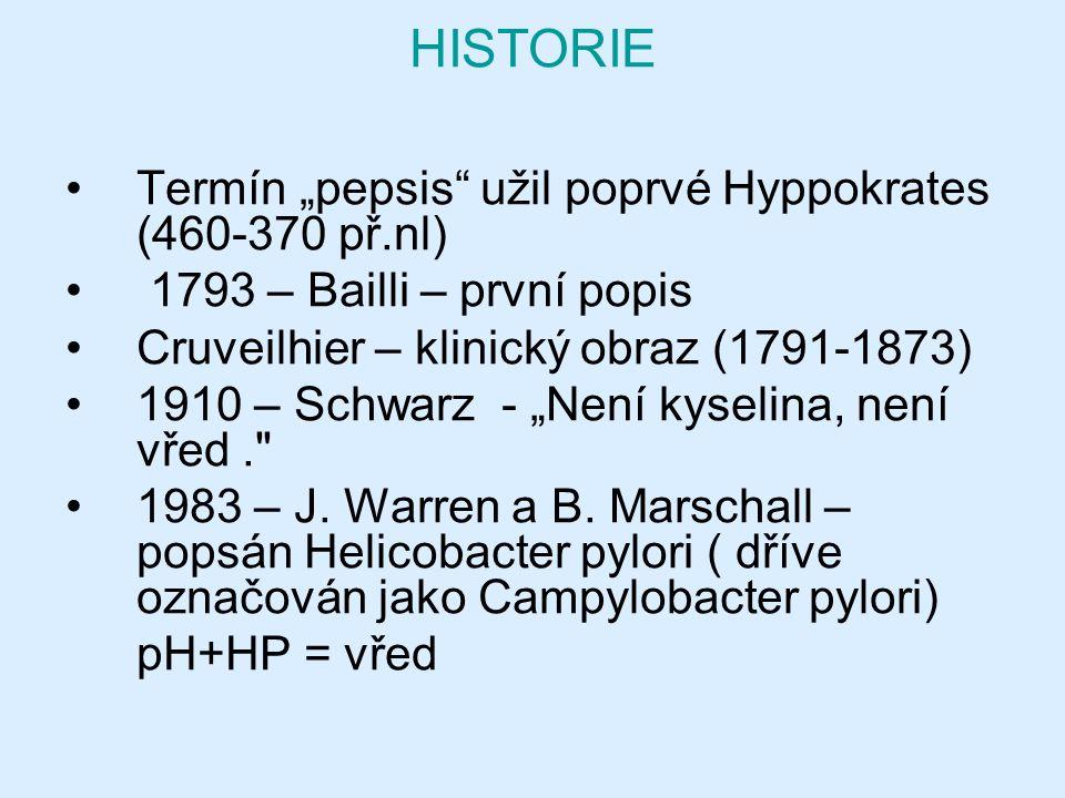 "HISTORIE Termín ""pepsis užil poprvé Hyppokrates (460-370 př.nl)"