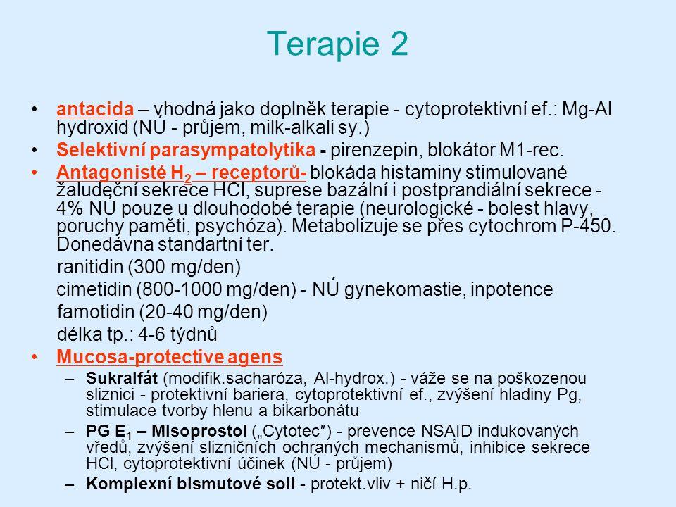 Terapie 2 antacida – vhodná jako doplněk terapie - cytoprotektivní ef.: Mg-Al hydroxid (NÚ - průjem, milk-alkali sy.)