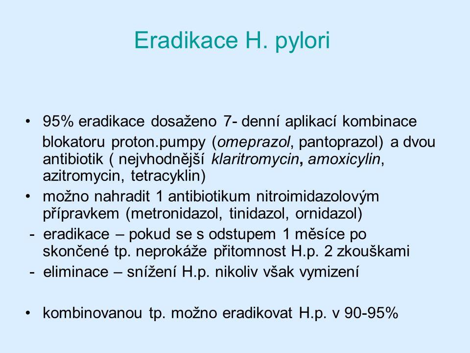 Eradikace H. pylori 95% eradikace dosaženo 7- denní aplikací kombinace