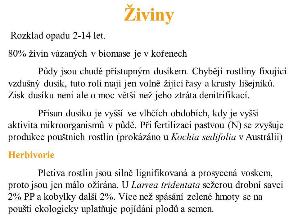 Živiny Rozklad opadu 2-14 let.