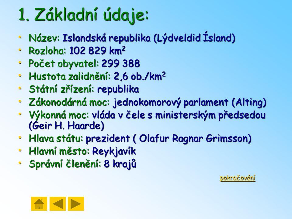 1. Základní údaje: Název: Islandská republika (Lýdveldid Ísland)