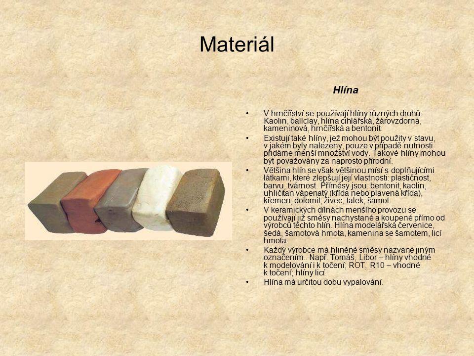 Materiál Hlína. V hrnčířství se používají hlíny různých druhů. Kaolin, ballclay, hlína cihlářská, žárovzdorná, kameninová, hrnčířská a bentonit.