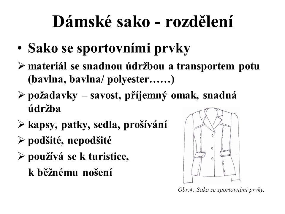 Dámské sako - rozdělení