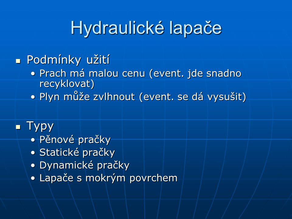 Hydraulické lapače Podmínky užití Typy