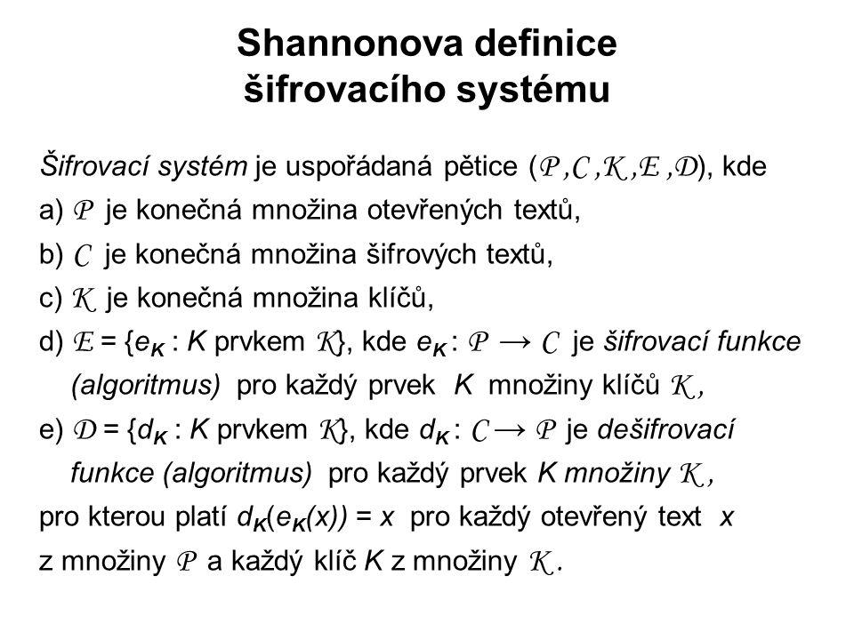 Shannonova definice šifrovacího systému