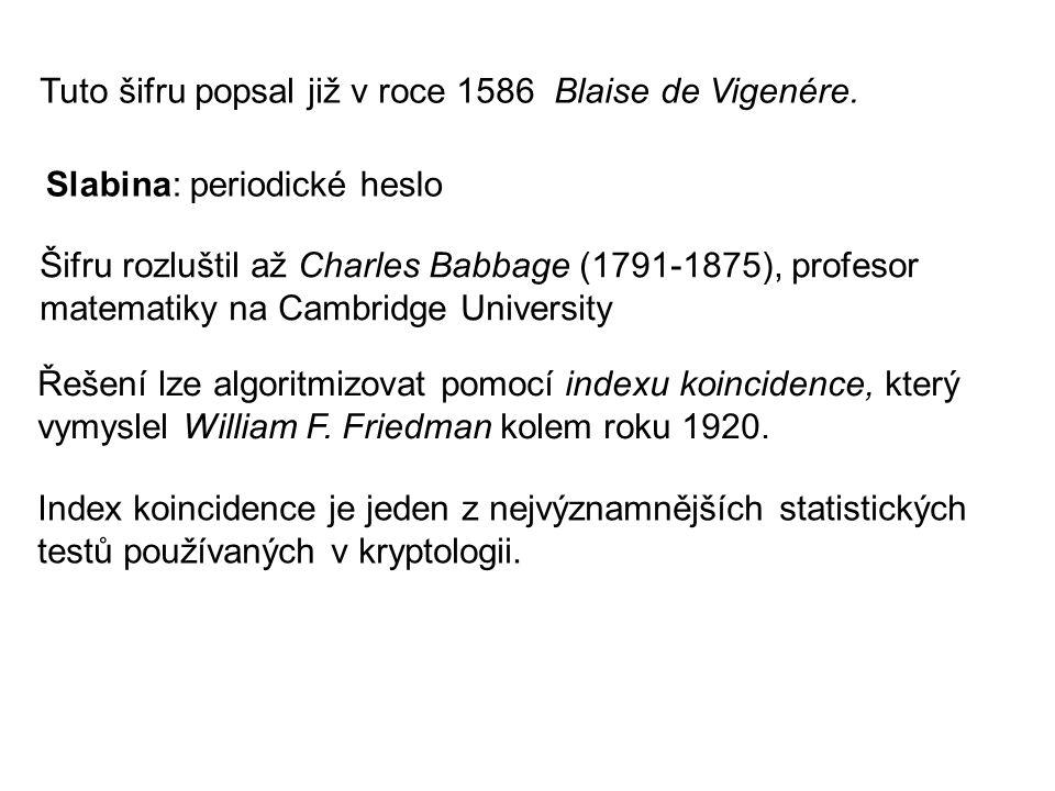 Tuto šifru popsal již v roce 1586 Blaise de Vigenére.